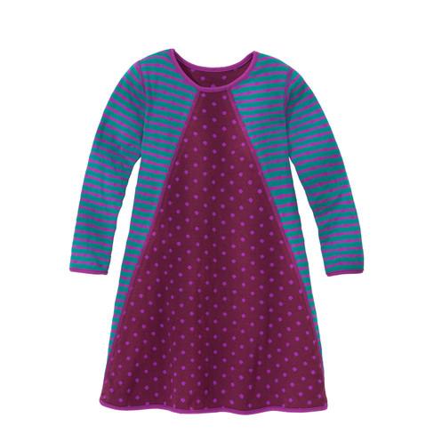 Keerbare jurk met lange mouw, bes/smaragd 86/92