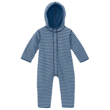 Omkeerbare fleece baby-overall, Atlantisch blauw/naturel