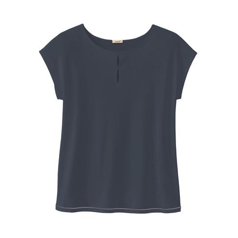 Overshirt met cut-outs en contrastnaad, nachtblauw 40/42
