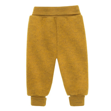 Wollen fleece babybroek, geel-oranje