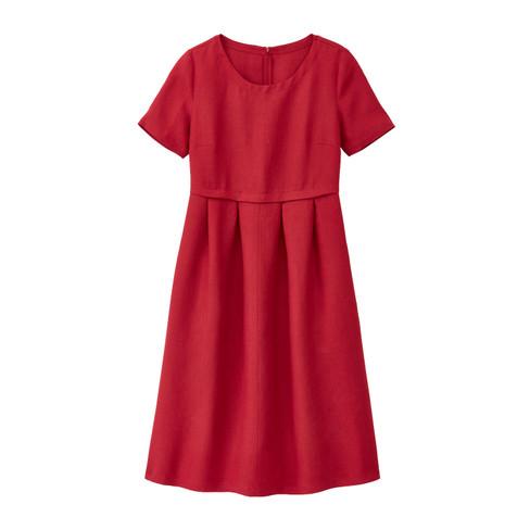 Linnen jurk in empirelijn, kersenrood 38