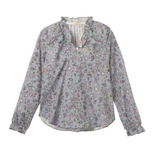 Vrouwelijk blouseshirt met paisleyprint en ruches, blauw-bedrukt 42