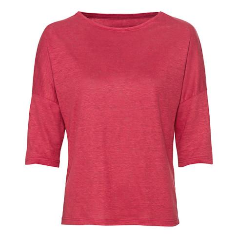Linnen-jersey shirt met ronde hals en 3/4-mouwen, kirsche 34