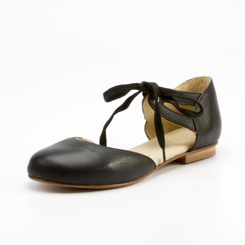 Ballerina met striksluiting, zwart 40