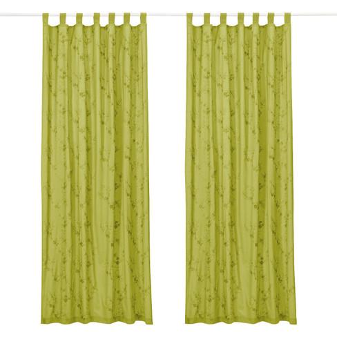 Lussengordijn met borduursel (1 st.), bamboe 135 x 245 cm