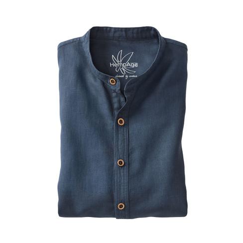 Heren-overhemd uit een mix van hennep/bio-katoen, nachtbl XXL