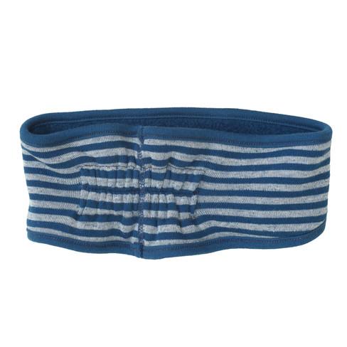 Keerbare hoofdband van bio-fleece, Atlantisch blauw/naturel 50 cm (hoofdomtrek)