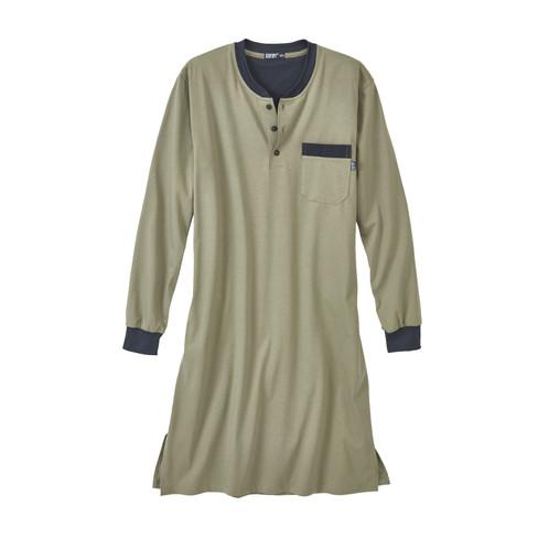 Nachthemd voor heren, olijfgroen M
