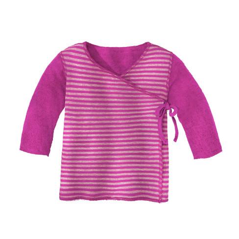Omkeerbaar fleece babywikkelshirt, fuchsia/naturel 62/68