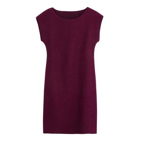 Walkstof jurk met korte mouwen, bessenrood 38