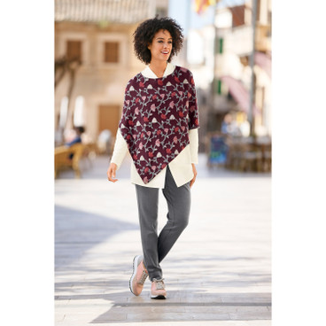Intarsia poncho, cassis-motief