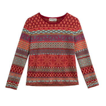 Jacquard pullover, rood-patroon