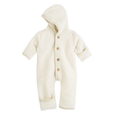 Wollen fleece overall met capuchon, naturel