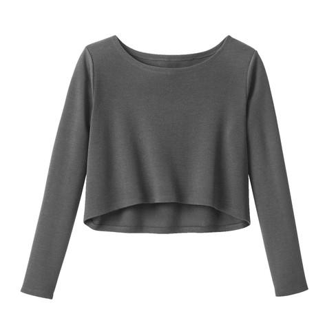 Korte pullover van biologische Merinowol, antraciet 40/42