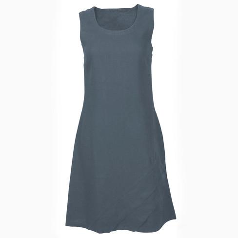 Linnen jurk, rookblauw 52