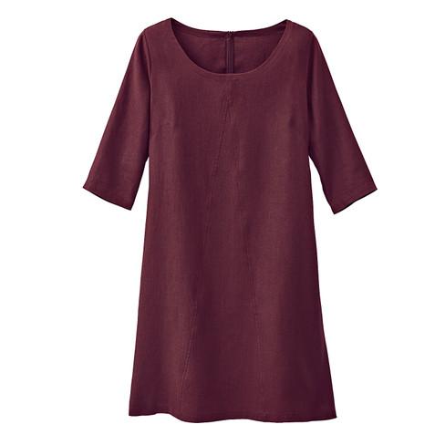 A Linie Korte linnen jurk, granaat 42