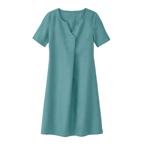 Linnen jurk met tuniekhals en wijdteplooi, waterblauw 40
