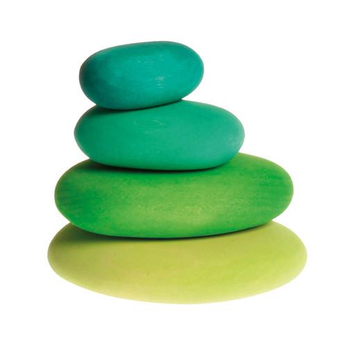 Houten stapelstenen, 4-delige set, groen-tinten