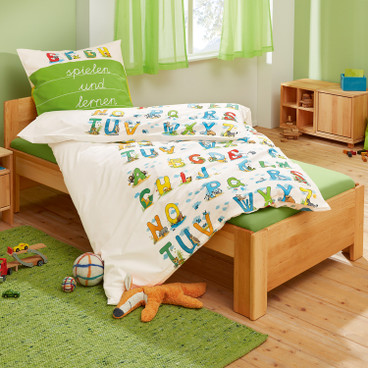 Bio-renforcé-beddengoedset ABC, naturel-bont