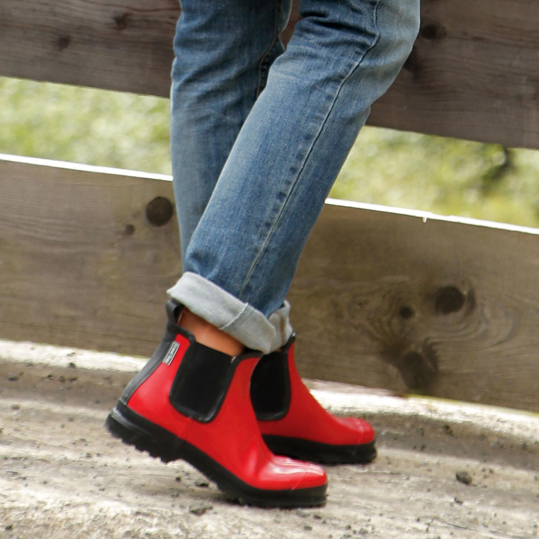 grand step shoes rubberen dameslaarzen baksteenrood. Black Bedroom Furniture Sets. Home Design Ideas