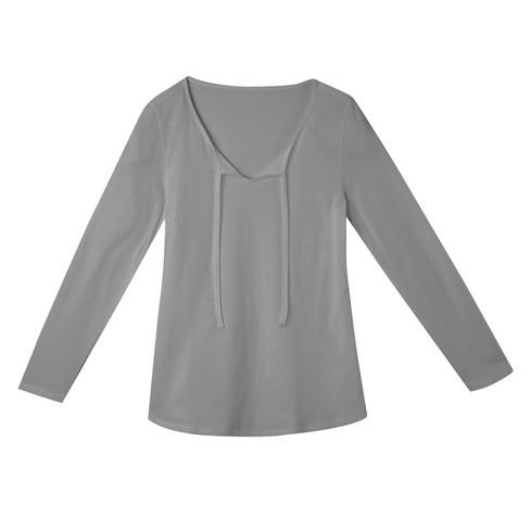Shirt met lange mouwen en band, zilvergrijs 44