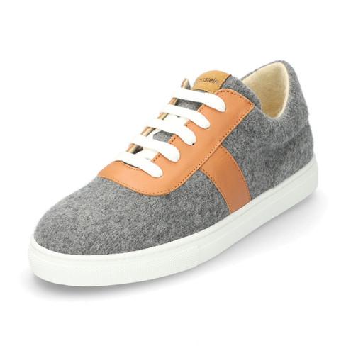 Wol-sneaker met leer, grijs-gemêleerd 39