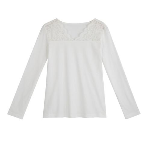 Shirt met kant, natuurwit 52