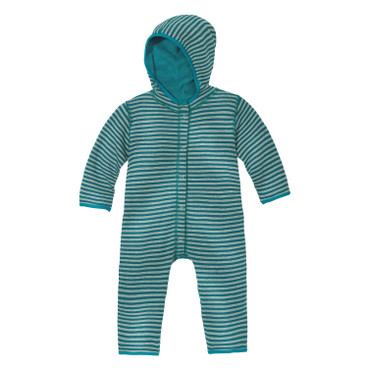 Omkeerbare fleece baby-overall, smaragd/naturel