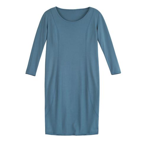 Jersey jurk, rookblauw 40/42