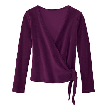 Nicki velours wikkelvest, purper