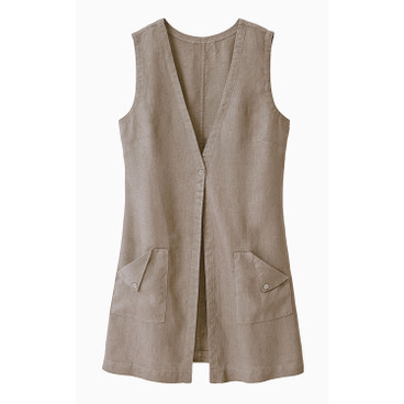 Lang vest, linnen, taupe