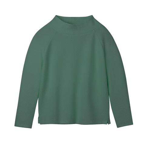 Sweatshirt van bio-katoen met raatstructuur en opstaande kraag, zeegras 46