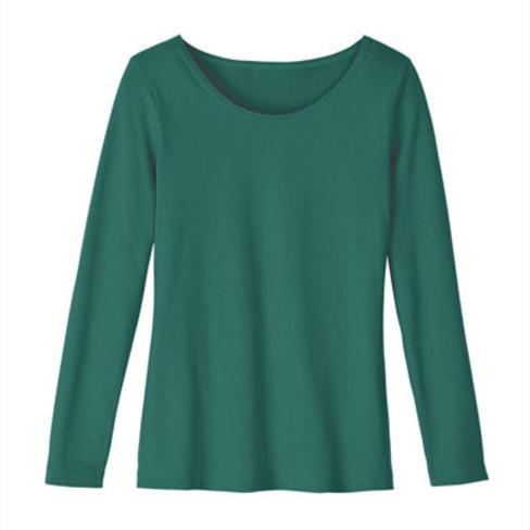 Shirt met ronde hals en lange mouwen, smaragd 40