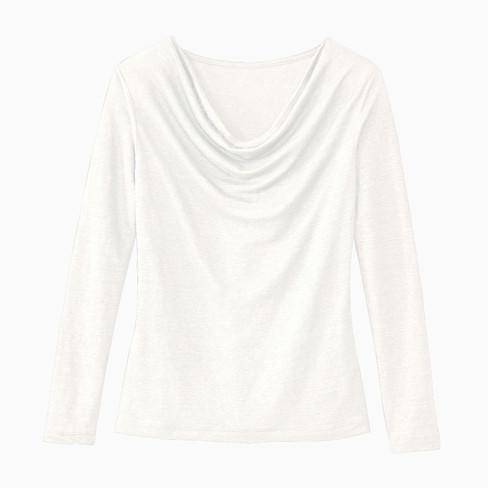 Shirt met watervalhals, natuurwit 44