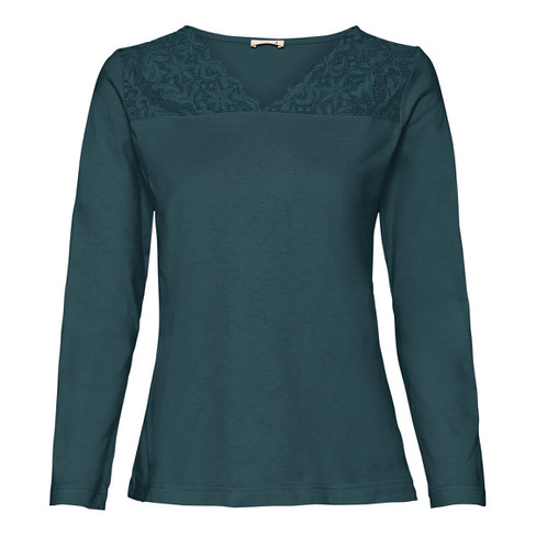 Shirt met kant, smaragd 52