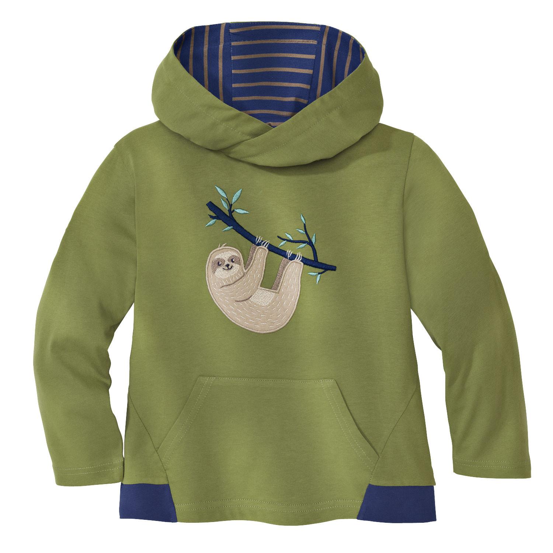 minibär DESIGN Capuchon-shirt Luiaard van bio-jersey, kiwigroen | Waschbär Eco-Shop from Waschbär