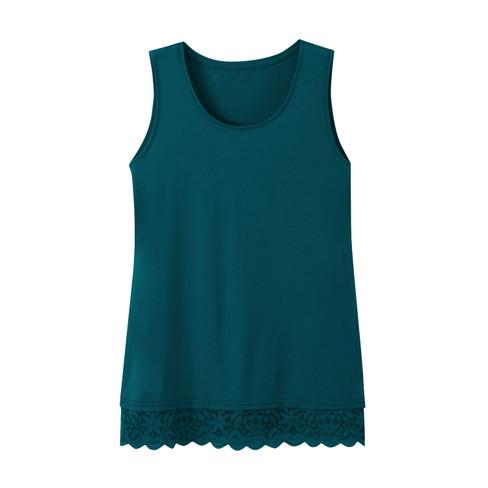 Longtop met kant, smaragd 36