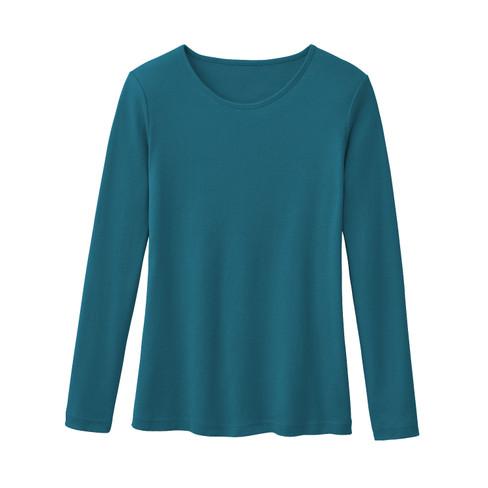 Biologisch katoenen shirt met ronde hals en lange mouwen, oceaan 44/46