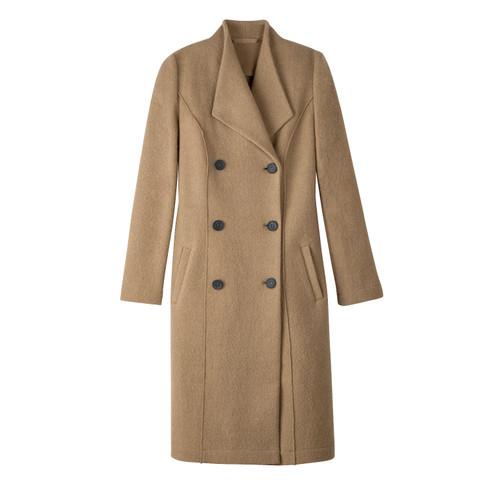 Wollen mantel uit gekookte scheerwol en reverskraag, camel 42