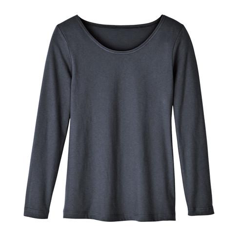 Shirt met ronde hals van bio-katoen, leisteen 46