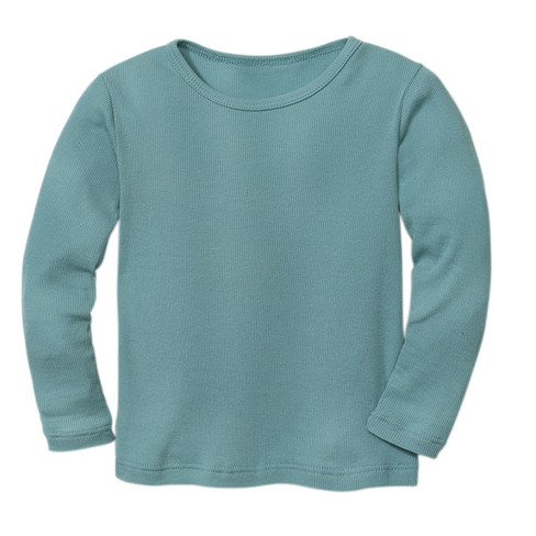 Ribbelshirt, waterblauw 134/140