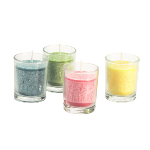 Kaars in glas, 4-dlg. set, gemengde kleuren � 5,5 � h 6,5 cm