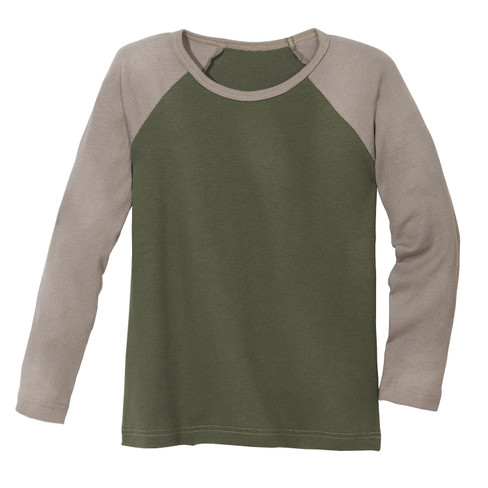 Shirt met lange mouwen 2-kleurig, kaki/taupe 134/140