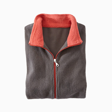 Fleece jas, antraciet/roest