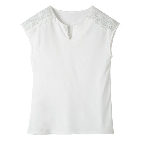 Shirt met kant, natuurwit 44/46