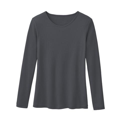 Biologisch katoenen shirt met ronde hals en lange mouwen, leisteen 40/42