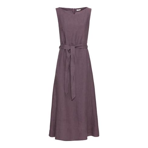 Linnen maxi-jurk in A-lijn met ritssluiting op de rug, moerbei 40