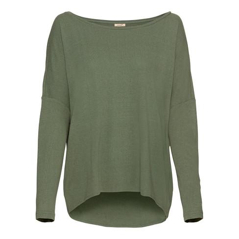 Oversized shirt van bourette-zijd met vleermuismouwen, steengroen 44/46