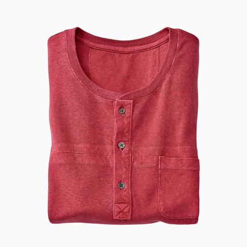 Shirt met korte mouwen en knoopsluiting HOWARD, rozenbottel XXL from Waschbär
