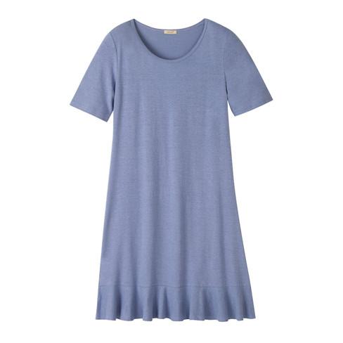 Jersey jurk met korte mouw en volantzoom, duifblauw 42